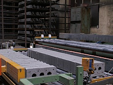 Part of the assembly line for production of Keramat single lattice bricks in Keramat JSC - Kaspichan